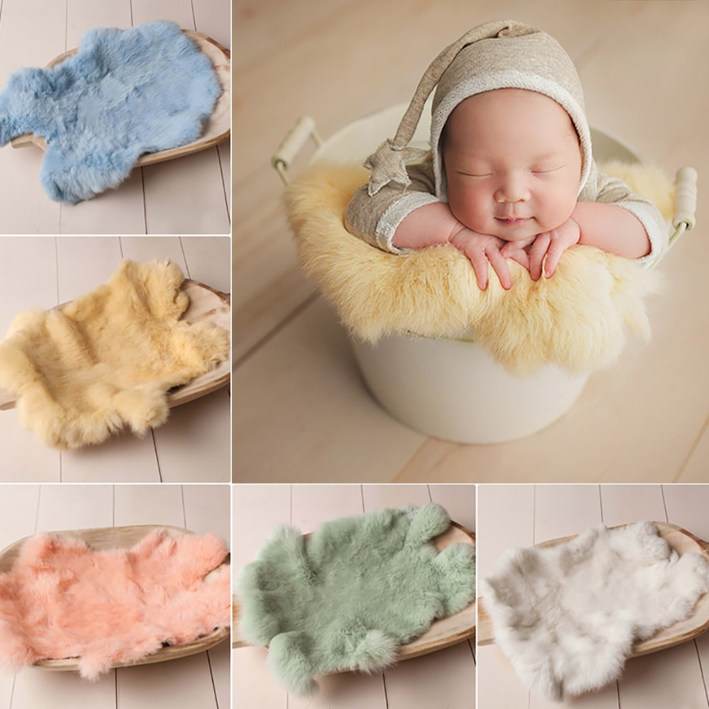 Rabbit Fur For Babies Baby Girl Birth Newborn Photography Props Blankets Accessories New Born Photo Shoot Background Blanket