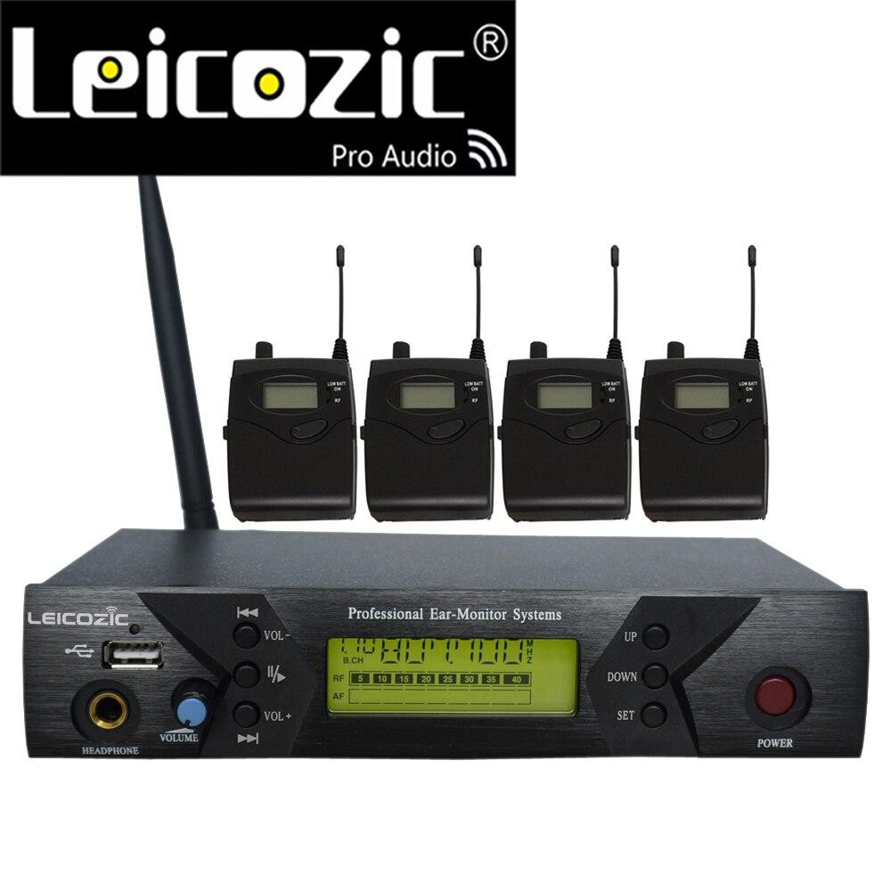 Leicozic BK-510 المهنية IEM أنظمة 4 استقبال لاسلكية في الأذن نظام مراقبة للمرحلة رصد الصوت في الأذن المرحلة الصوت