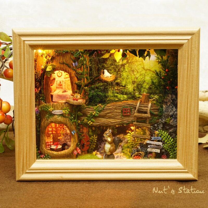 Кукольный домик «сделай сам», деревянный миниатюрный комплект мебели для кукол, игрушки для детей, подарок, кукольный домик с орехами, станц...