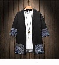 Kimono japonais traditionnel hommes vêtements japonais kimono hommes veste homme kimono chemise hommes samouraï costume AA001