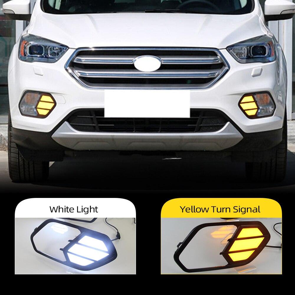 Intermitente para coche 2 uds 12V LED DRL luces de circulación diurna luz lámpara de niebla con señal de giro, lámpara para Ford Escape Kuga 2016, 2017, 2018