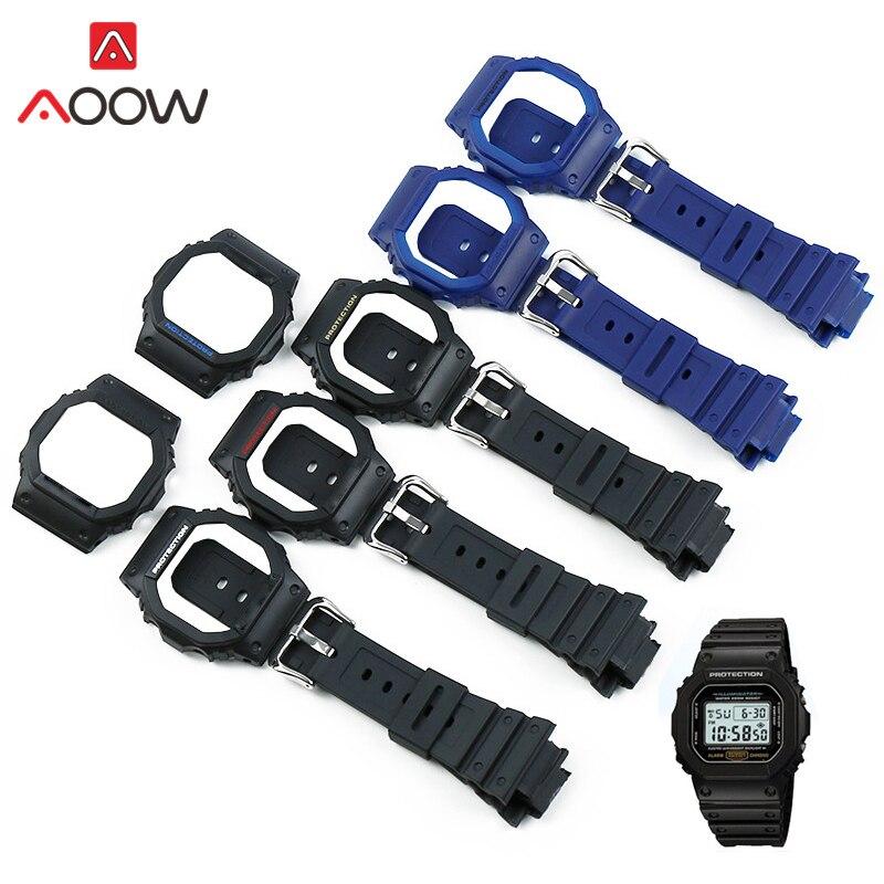 Resina reloj caso para Casio G Shock DW-5600 GW-M5000 GW-5030 rojo azul hombres mujeres reemplazar Correa banda reloj de pulsera Accesorios