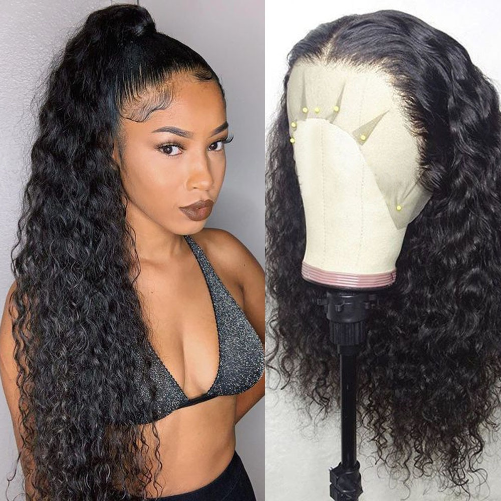 Afro Wig Transparent Lace Wig 180% Density Curly Hair T Part Lace Wig Undetectable Lace Pre Plucked Lace Wig Curly Ponytail Remy