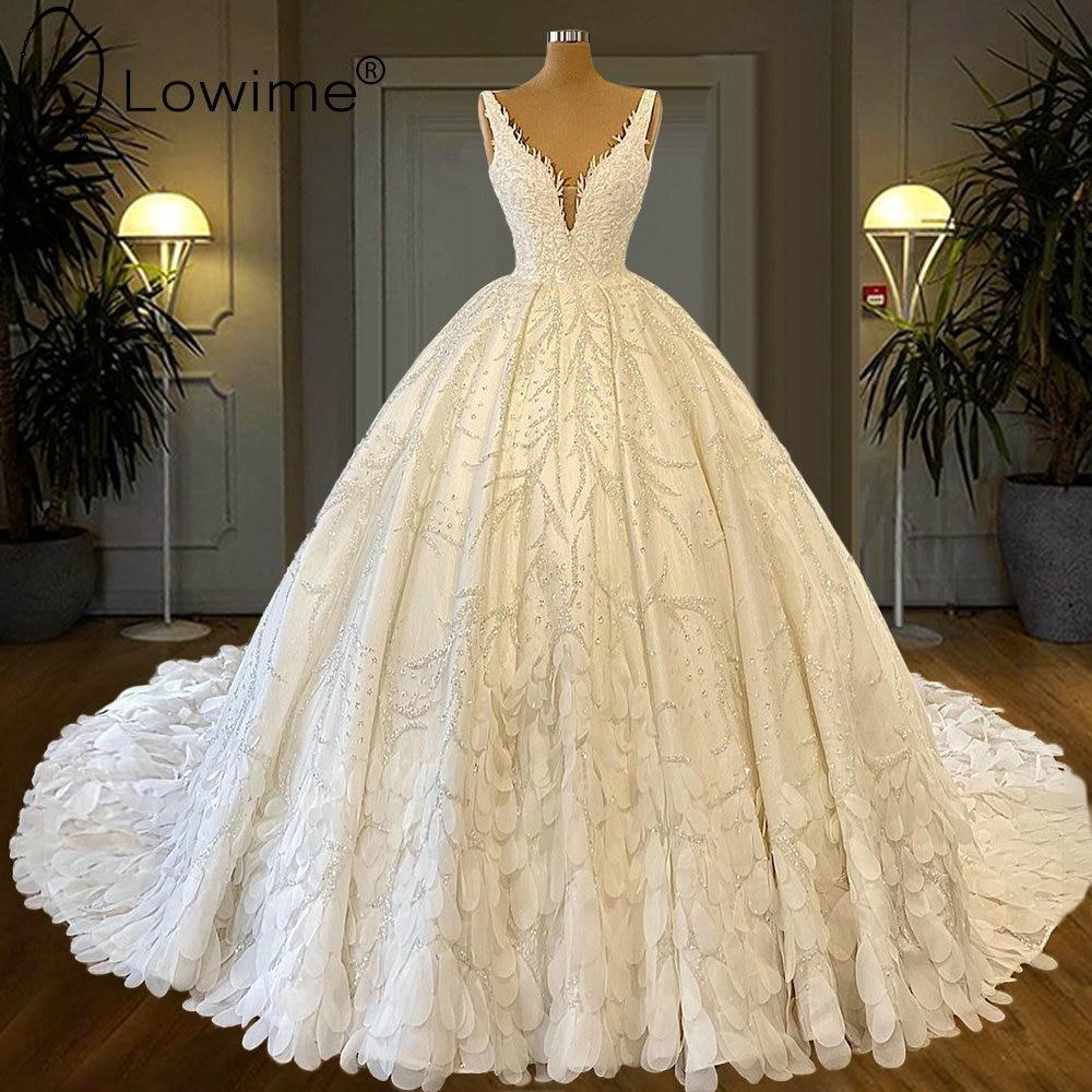 فساتين زفاف الأميرة الكرة مع قطار طويل الخامس الرقبة الفاخرة الثقيلة الخرز زي العرائس مخصص