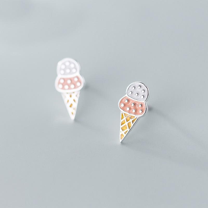 Mloveacc 2019 100% 925 prata esterlina moda feminina doce sorvete brincos do parafuso prisioneiro presente para a filha meninas adolescentes atacado