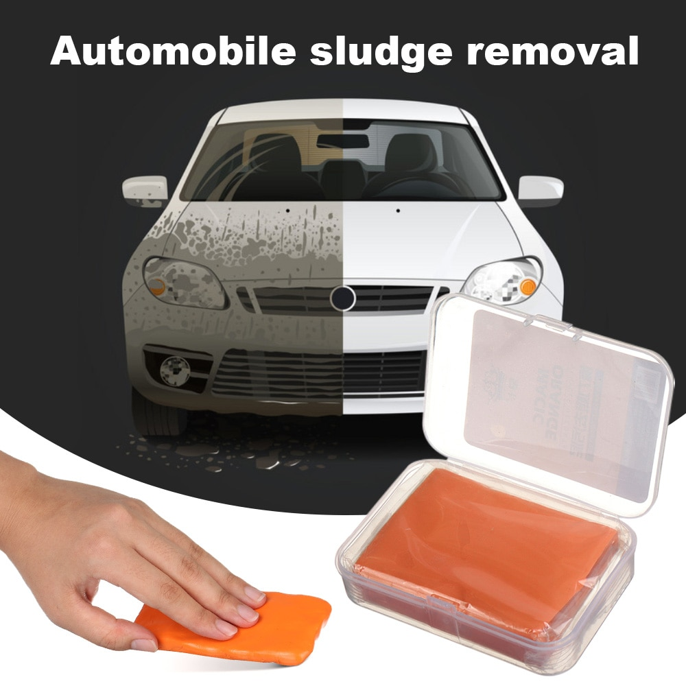 100g Car Washing Clay Paint Detail Cleaning Magic Mud Packed In PVC Box Detailing Car Wash Maintenance Yellow Mud Cleaner Tool