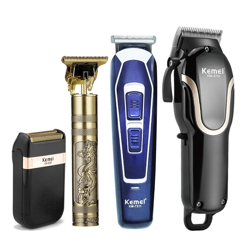 Kemei Professional Barber Hair Trimmer Rechargeable Electric Clippers T-Outliner Men Shaving Machine Cut Hair Beard Shaver
