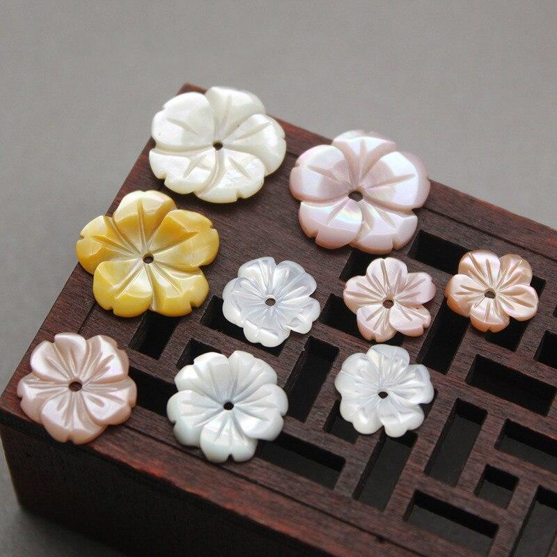 1 unidad de conchas naturales con púas, flor tallada de cinco piezas, flor de cerezo, fabricación de joyas DIY, collares brazaletes pendientes, accesorios