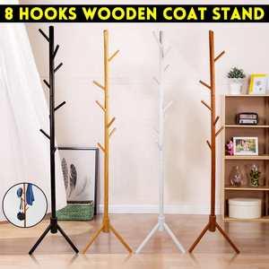 Wooden Clothes Rack Coat Stand Tree Jacket Holder Hanger Tree Branch Hat Rack 8 Hooks Clothes Organizing Rack for Home Bedroom