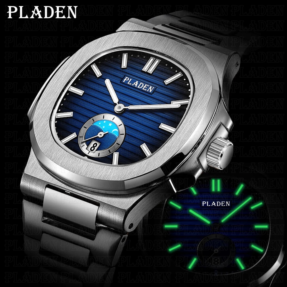 2021 NEW PLADEN Men's Watches Luxury Brand Quartz Watch Automatic Date Man Business Japan VK63 Reloj