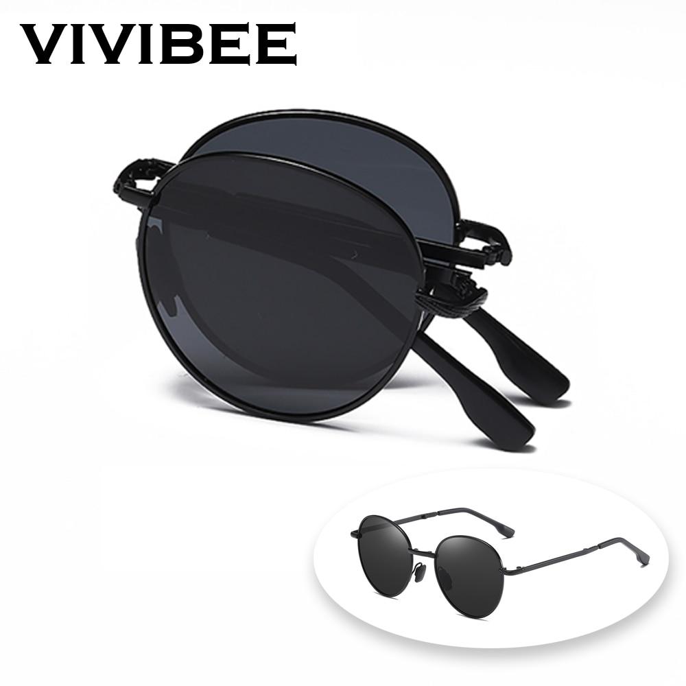 VIVIBEE 2021 Trending Square Black Folding Polarized Sunglasses Women Light Mirror Blue Fold Shades