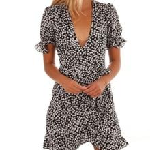 Femmes robes été 2021 Sexy col en V imprimé fleuri Boho plage Robe à volants manches courtes une ligne Mini Robe portefeuille Robe dété