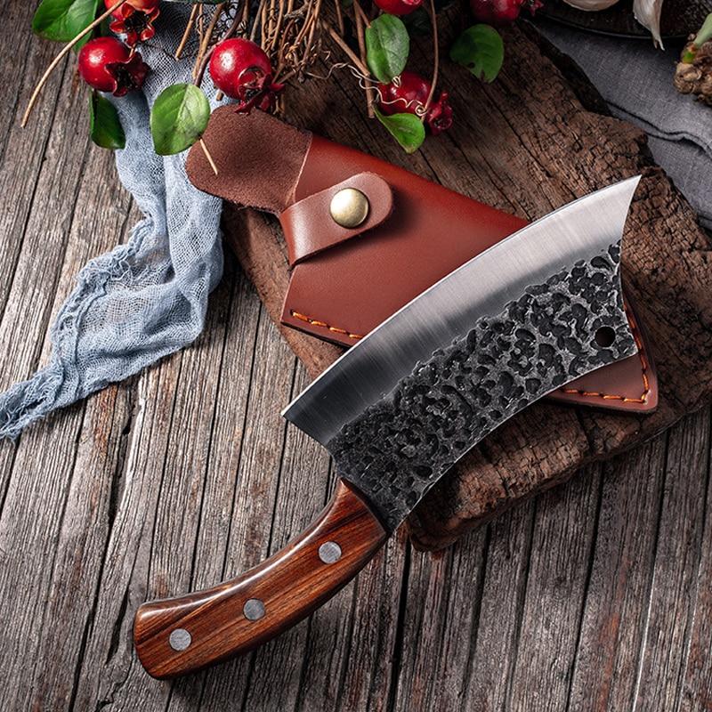 Кованый нож для мясника Liang Da, 7-дюймовый стальной нож для обвалки, охоты, кемпинга, кожаный чехол, нож шеф-повара ручной работы в сербском сти...