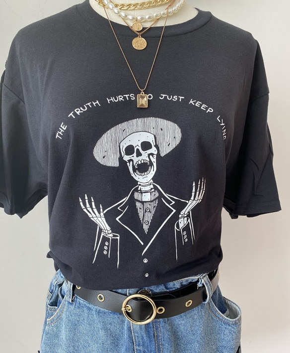 VIP HJN la verdad daña la letra impresa camiseta esqueleto camiseta Tumblr Grunge estético blanco Tee arte sofisticado azada camisa