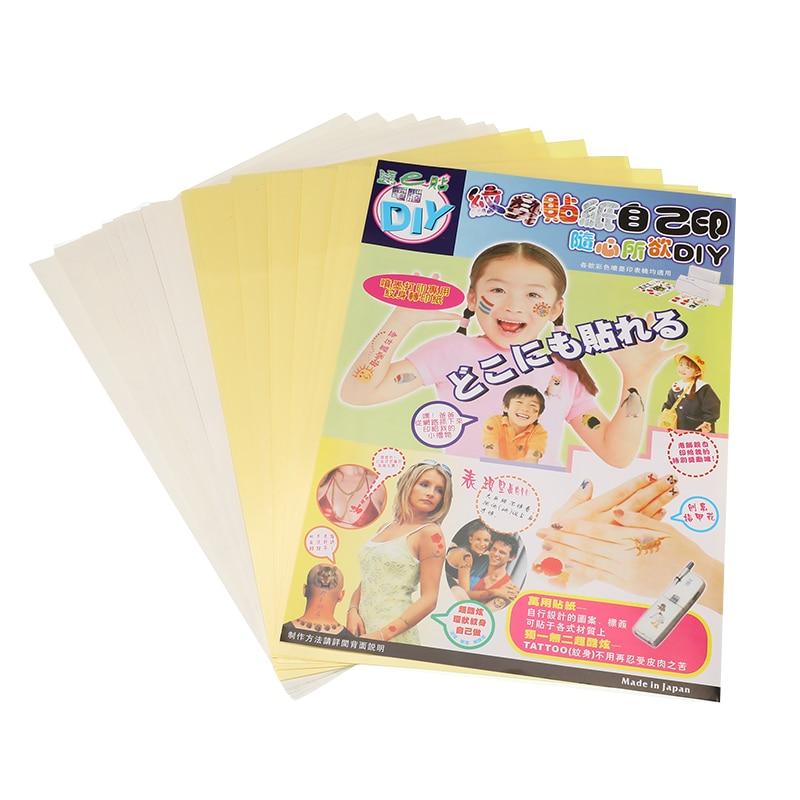10Sets/Lot A4 Art Tattoos Paper DIY Waterproof Temporary Tattoo Skin Paper with Inkjet Printing Printers For Tattoo Men Children