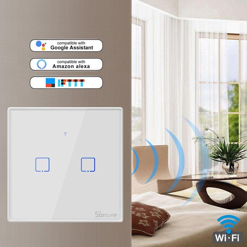 SONOFF-enchufe inteligente T0, serie TX, WiFi con 2 entradas, interruptores de pared con WiFi dividido, funciona con eWelink Google Home, Alexa, nuevo de 2019