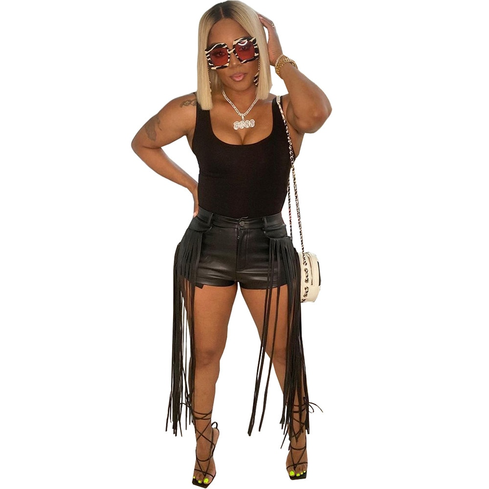 Black PU Faux Leather Tassels Spliced Biker Short Summer Shorts for Women High Waisted Zipper Fly Skinny Bodycon Tight Shorts skull zipper fly skinny faux leather pants