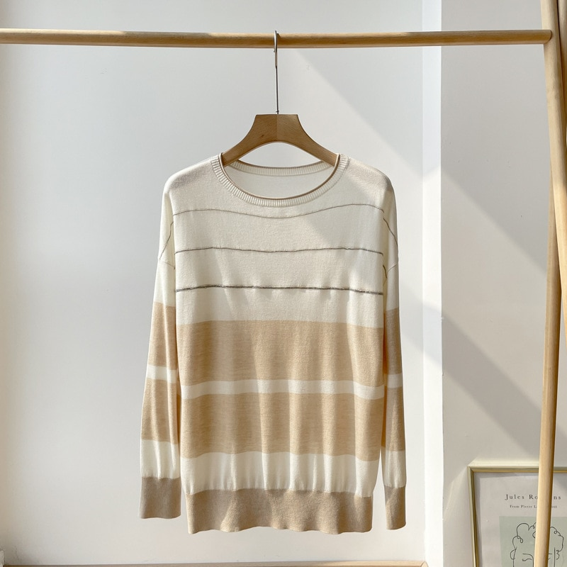 SHUCHAN NEW 2021 AUTUMN Sweaters for Women Thin 15% Cashmere 85% Silk Japan Style  Striped Pullovers Dropshipping enlarge