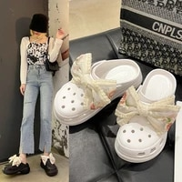 women sandals hole shoes breathable home slippers summer bow hollow buckle men and women beach flat shoes women sandals