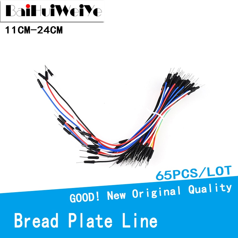 65PCS/LOT New Solderless Flexible Breadboard Jumper wires Cables Bread plate line Male to Male Jumper Wirefor Arduino Breadboard недорого