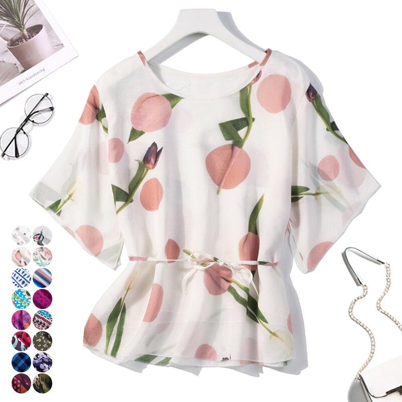 100% de seda pura de dos capas para mujer blusa de cuello redondo de manga corta tamaño 2XL JN110