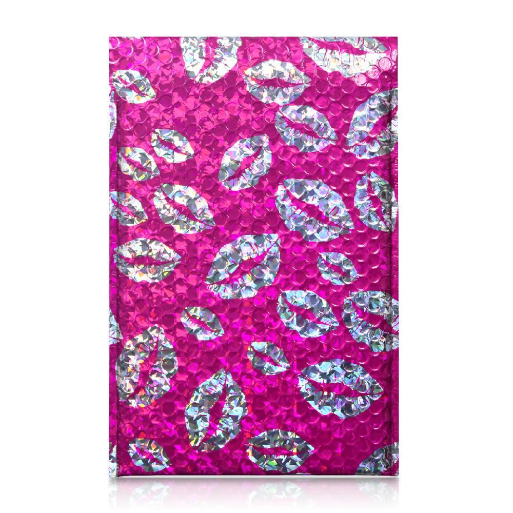 TONESPAC 190*260mm 25pcs laser Lips Kiss Poly Bubble Mailer Shipping Envelopes Bag Self Seal Waterproof Packaging Hot pink