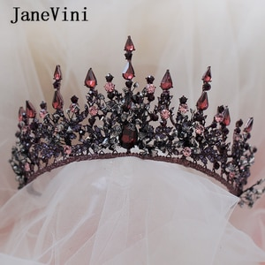 JaneVini Vintage Baroque Luxury Bridal Tiaras and Crowns Crystal Princess Pageant Headwear Wedding Jewelry Hair Accessories 2019