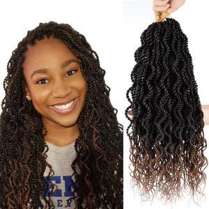Волнистые вязаные крючком косы Сенегальские скрученные 18 дюймов Сенегальские скрученные крючком волосы вьющиеся концы