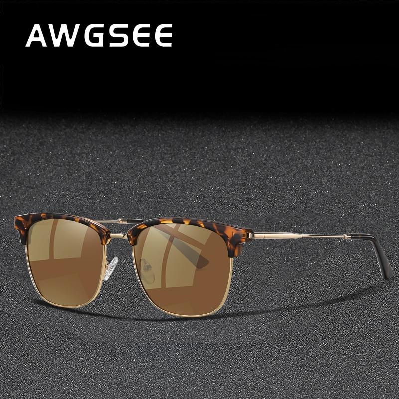 Retro Polarized Sunglasses for Men and Women Classic Driving Eyewear Vintage Semi-Rimless Frame Bran