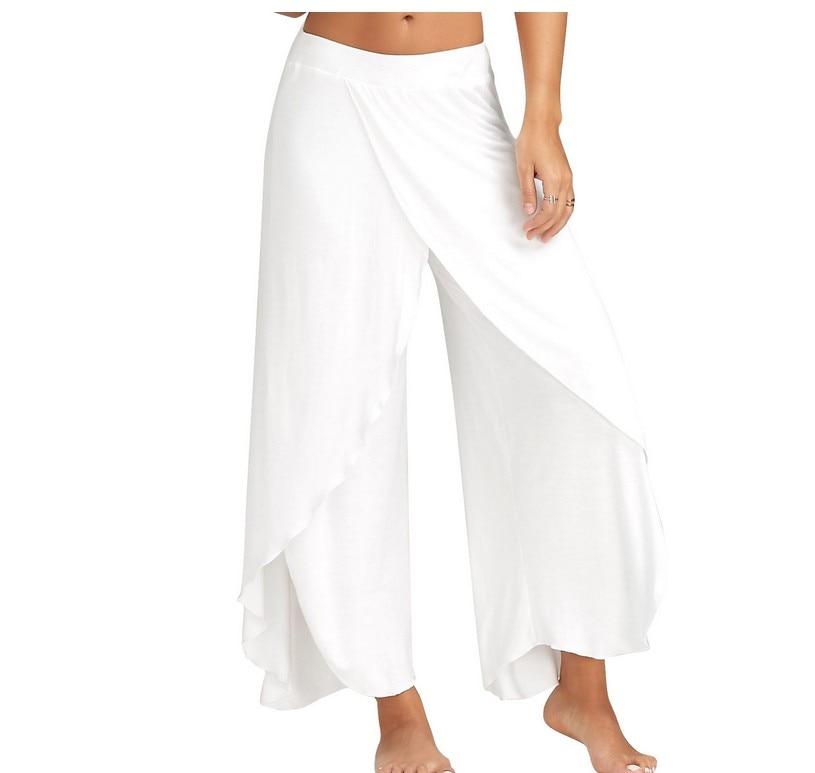 Muyogrt Wide Leg Pants Women Capris Solid Loose Bloomers Fitness Dance Wear Split Trousers Plus Size
