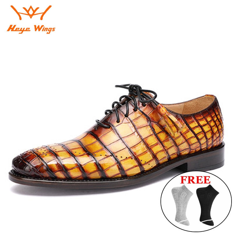 2021 تصميم جديد أحذية رجالية فستان فاخر يدويا جلد التمساح حفل زفاف أحذية من الجلد جوديير Welted الأحذية الرسمية