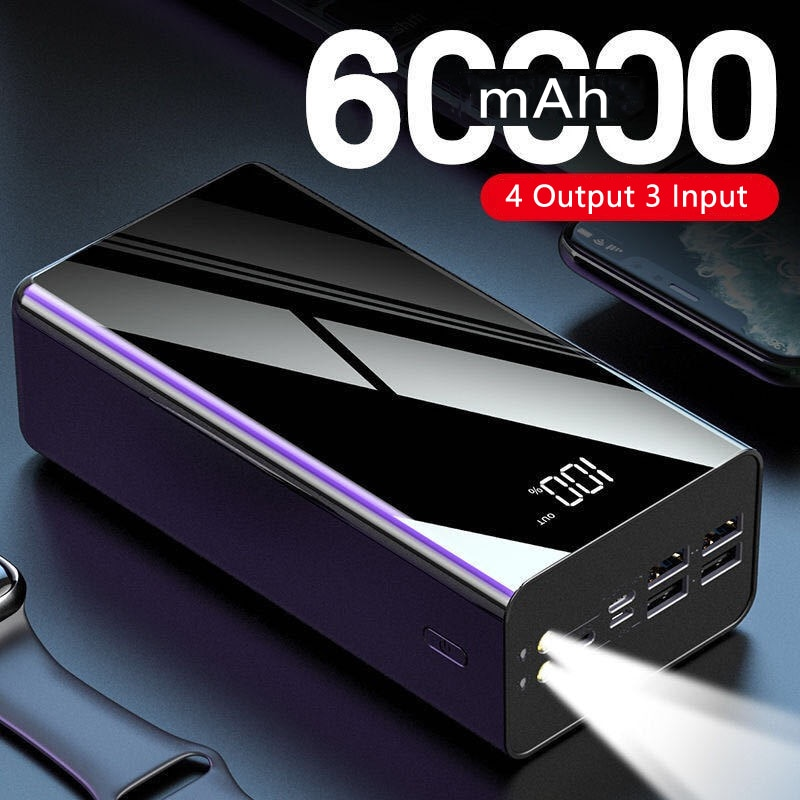 باور بانك عالي السعة 60000 مللي أمبير في الساعة لهاتف آيفون 11 شاومي باور بانك بطارية خارجية محمولة مزودة بشاحن بوحدة إضاءة LED
