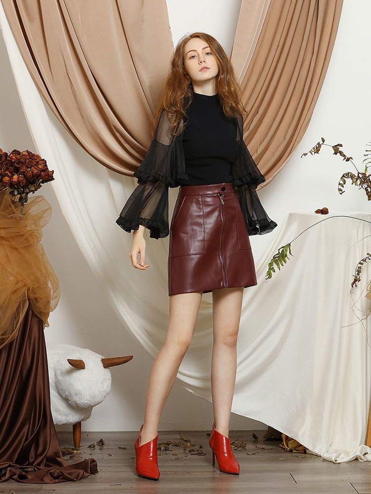 Women's Sexy Burgundy Technical Leather Skirt