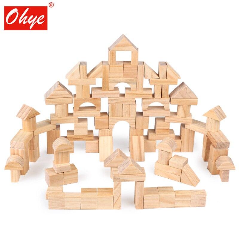 Высокого качества 100 шт. строительный блок Строительные блоки наборный высокого качества деревянный Раннее Образование Развивающие игрушк...