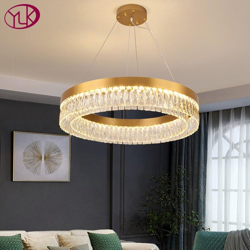 الحديثة كريستال الثريا لغرفة المعيشة غرفة نوم الذهب led كريستال مصباح المطبخ جزيرة مستديرة/مستطيل معلقة تركيب المصابيح