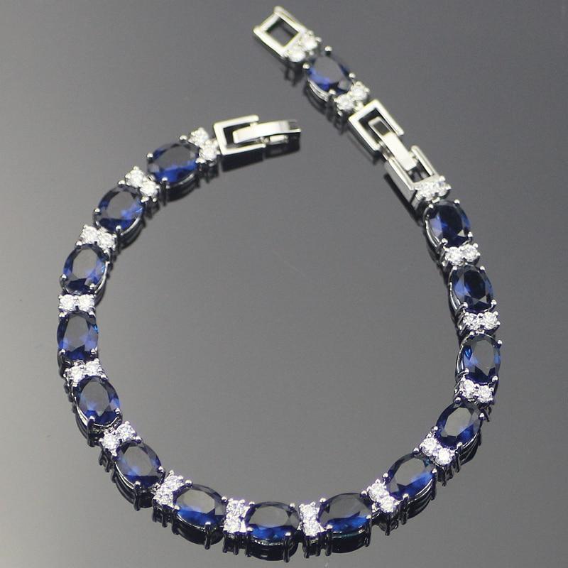 Clássico azul zircônia cúbica prata esterlina pulseiras para mulher 7 + 1 Polegada caixa de jóias grátis
