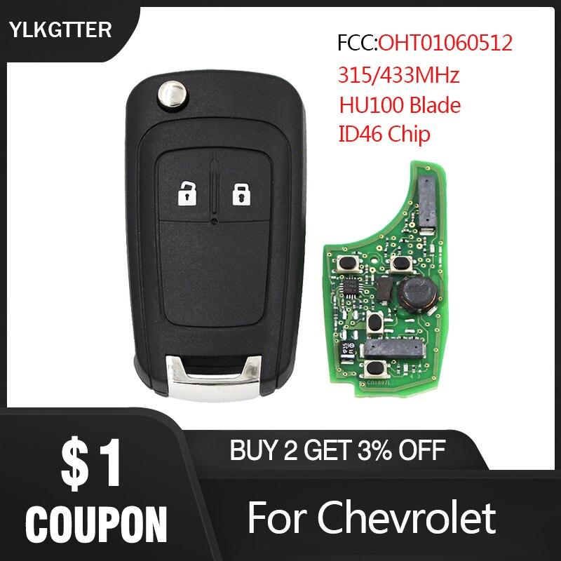 YLKGTTER 2 botones plegable llave remota para Chevrolet Aveo Cruze Malibu Spark con 315/433MHz ID46 Chip HU100 hoja sin cortar