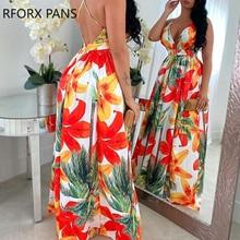 Floral Print Backless Maxi Dress Summer Dress Women Fashion Party Elegant Clothes