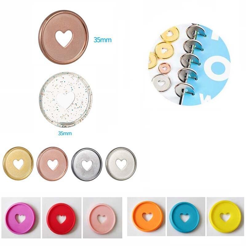 100PCS Colorful Heart  Mushroom Hole Binder Rings Binding Plastic Disc Buckle Hoop DIY Binder Notebook