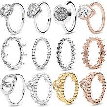Autentico cuore di amore scintillante con corona di diadema principessa in argento Sterling 925, anelli CZ per anniversario di gioielli da donna
