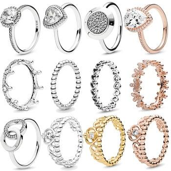 Authentique 925 en argent Sterling princesse diadème couronne étincelant amour coeur, CZ anneaux pour les femmes fiançailles bijoux anniversaire