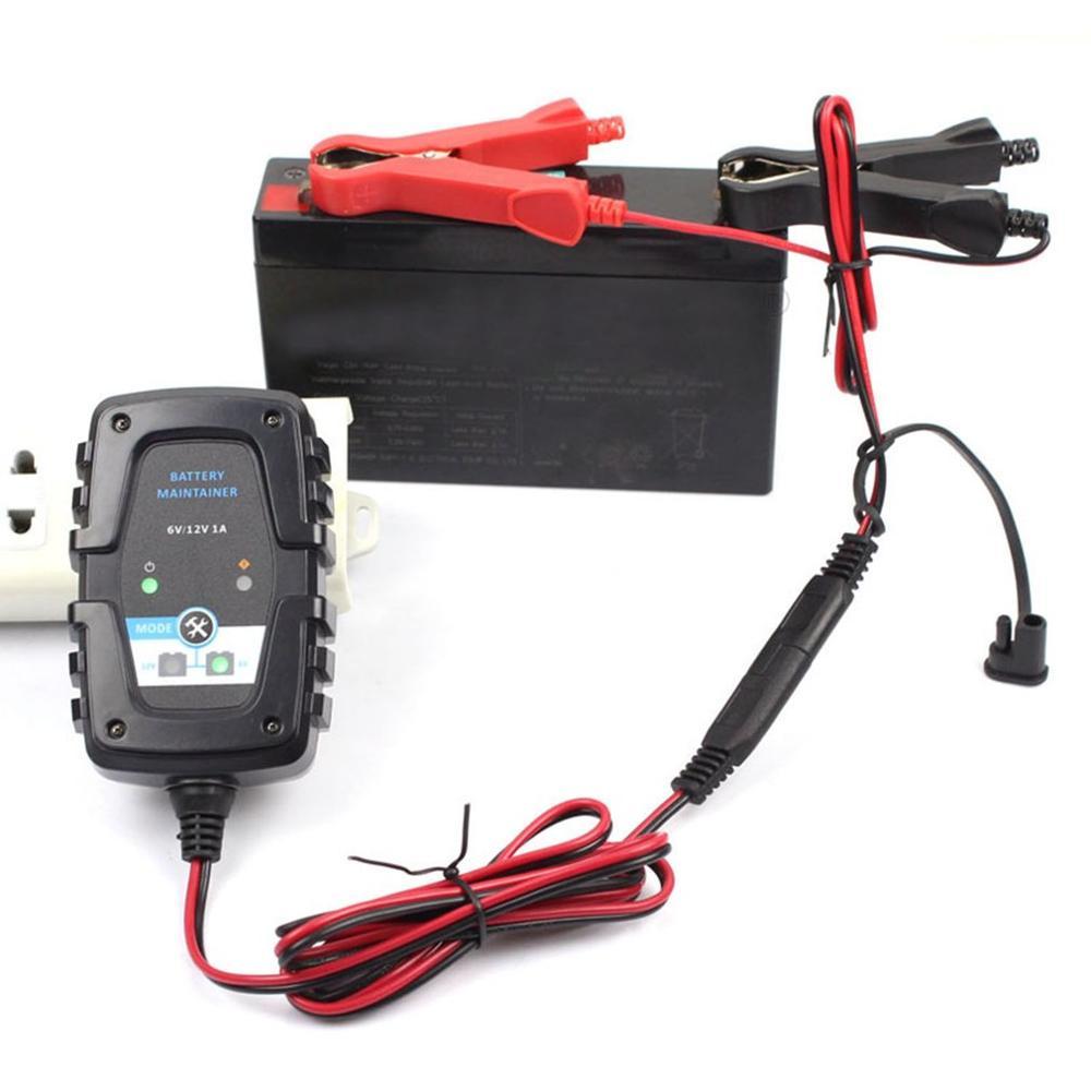 FOXSUR 6V12V 1A cargador inteligente de batería de plomo ácido batería de coche de motocicleta cargador Agm Sae Cable LED indicadores