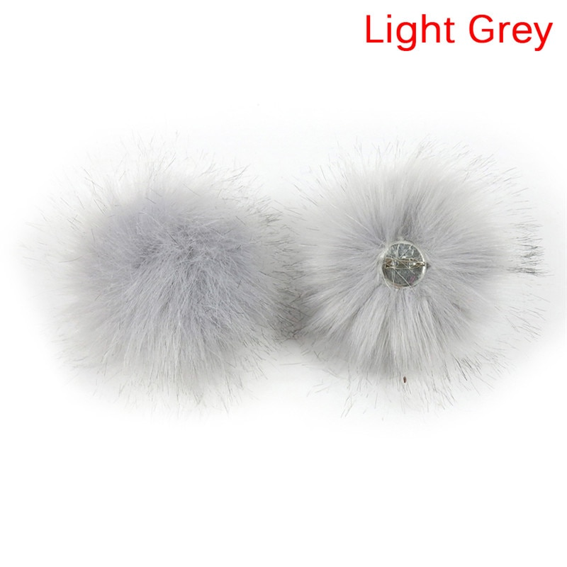 Removable Faux Fox Fur Fluffy Ball With Pin Fake Fur Hat Pompon With Pin For DIY Hat Bags Scarves Accessories