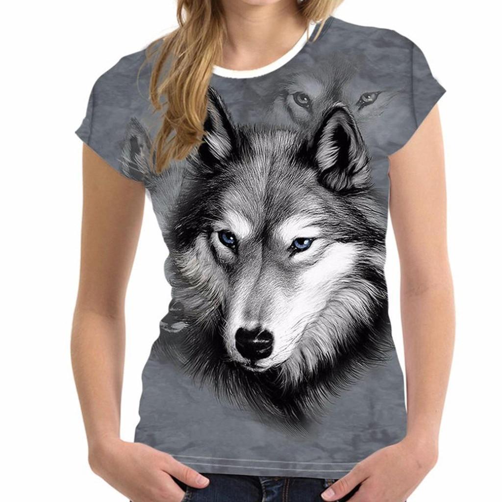 Camiseta divertida con estampado de cabeza de Lobo en 3D para hombre y mujer, disfraces de cultura urbana con personalidad a la moda # A3