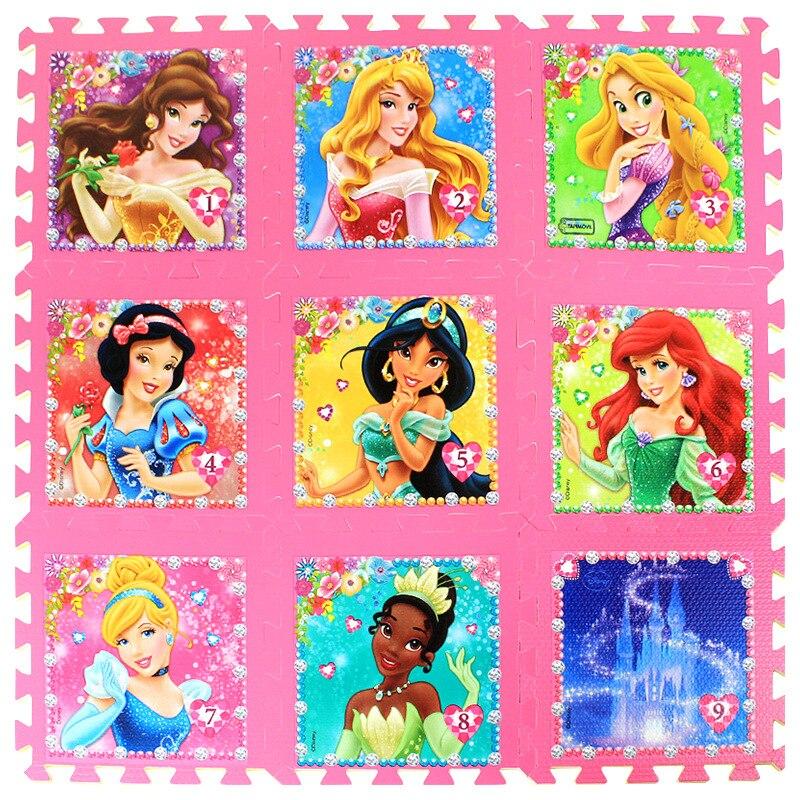 La Princesa 9 unids/pack chica de espuma Mickey Minnie 30x30cm por pieza congelados bebé niño jugar piso alfombra de juego alfombra