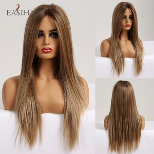 EASIHAIR Silky Straight Long Brown Blonde Lace Front Wig with Baby Hair Heat Resistant High Density Synthetic Wigs for Women