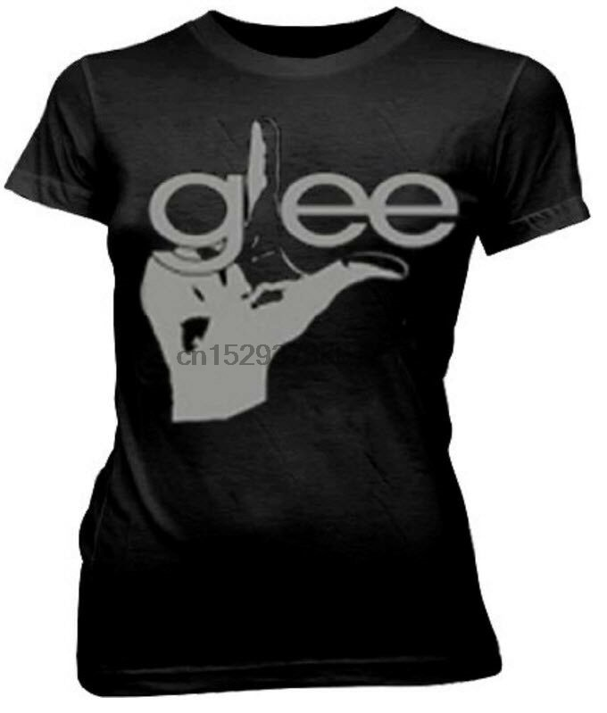 Juniors música negra TV Show Glee dedo Splat de relieve con cuello en V camiseta