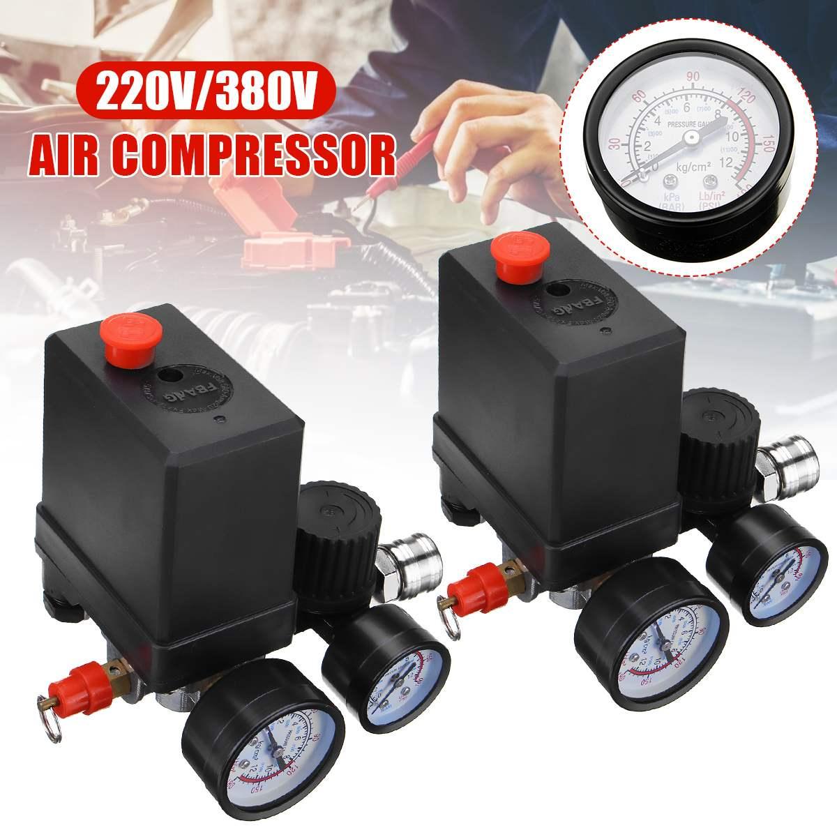منظم ضغط مضخة الهواء ذو 4 منافذ ، مفتاح التحكم في الضغط ، 0-180 رطل لكل بوصة مربعة ، 240 فولت/380 فولت ، مع مقياس