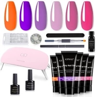 aopmall%c2%ae 6 color poly nail gel set 14 pcs fast building manicure extension kit with uvled lamp for nail art tools