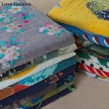 Cotton/Linen/Rayon Seersucker Tulips Flower Leave Stripe Dots thin Fabric for DIY Summer Kids Women Apparel Dress Bluse Pants